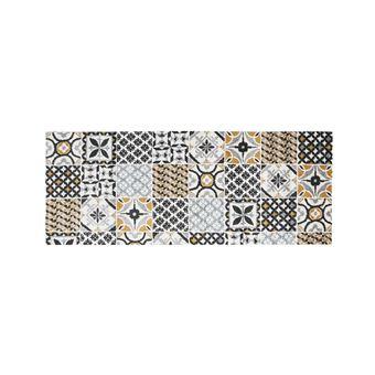 tapis de couloir effet carreaux de ciment ornico 80 x 200 cm multicolore