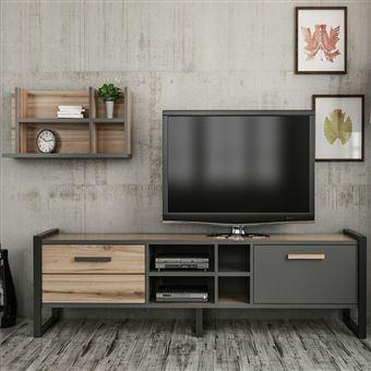meuble tv design avec etagere leno l 184 x h 39 cm gris anthracite