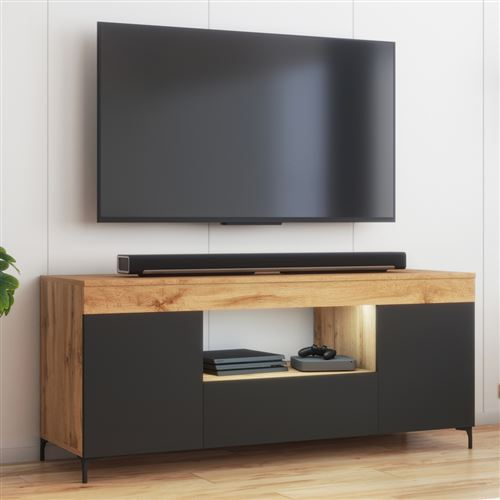 meuble tv avec led banc tv avec led gusto 137 cm lancaster noir mat style contemporain