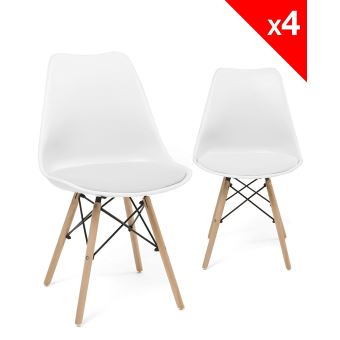 chaise scandinave nasi avec coussin lot de 4 blanc achat prix fnac