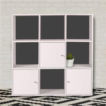 meuble de rangement cube 9 cases bois blanc avec 3 portes fond gris