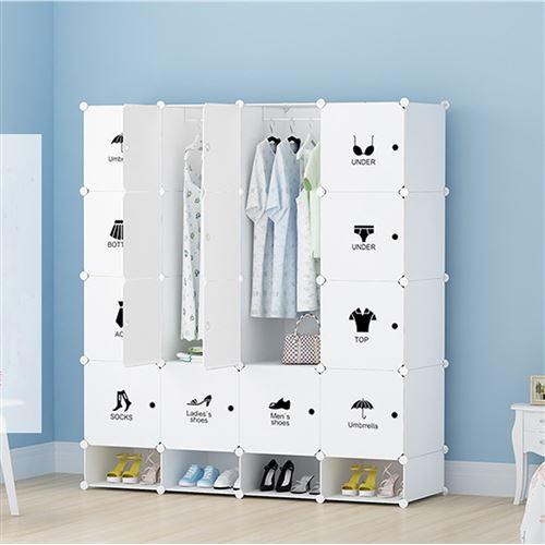 Armoires Etageres Plastiques Penderie Plastiques Meuble Rangement 16 Cubes Modulables 4 Cubes Chaussures Blanc Achat Prix Fnac