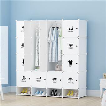 armoires etageres plastiques penderie plastiques meuble rangement 16 cubes modulables 4 cubes chaussures blanc
