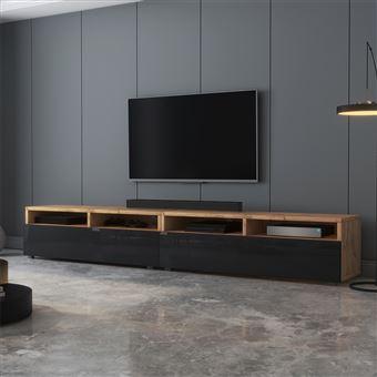 meuble tv rednaw 200 cm chene wotan noir brillant style scandinave