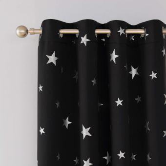 deconovo lot de 2 rideaux occultants occultant a oeillets isolant thermique en chambre 140x180cm grands etoiles des imprimes argents noir