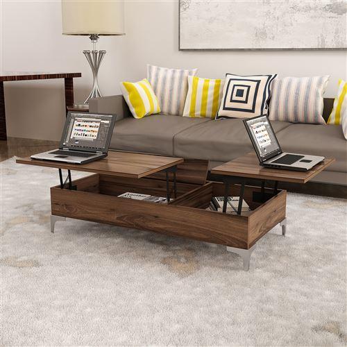 homemania table basse delinda relevable compacte porte pc porte revues avec etageres pour salon noyer en bois 121 x 60 x 30 cm