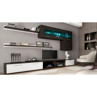 home innovation meuble de television meuble de salon moderne avec leds finitions blanc laque et wengue dimensions 250x190x42 cm de profondeur