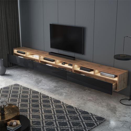 meuble tv rednaw 300 cm chene wotan noir brillant avec led style scandinave