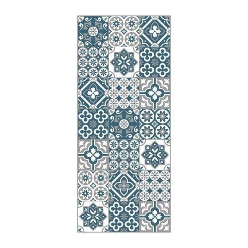 amadora tapis 100 vinyle imitation carreau de ciment 49 5x112 5 cm epaisseur 1 5 mm bleu blanc et gris