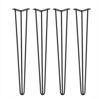 4 pcs pieds de meuble en metal hairpin pieds de table epingle a cheveux noir 30 pouces