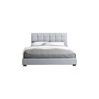 lit adulte avec tete de lit capitonnee en tissu gris clair sommier a latte 160x200 collection william