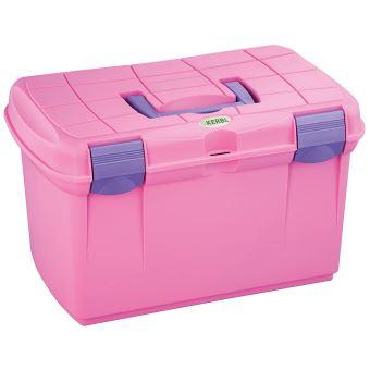 kerbl 328265 putz boite de rangement arrezzo avec compartiments amovibles rose