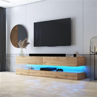meuble tv suspendu meuble de salon mural hylia 140 cm chene wotan avec led style moderne