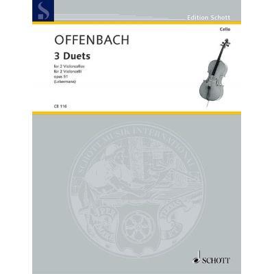 Partitions classique SCHOTT OFFENBACH JACQUES - THREE DUETS OP. 51 - 2 CELLOS Violoncelle