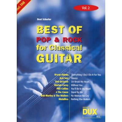 Partitions variété, pop, rock... Edition Dux BEST OF POP & ROCK FOR CLASSICAL GUITAR SOLF. & TAB VOL.2 Guitare tablatures