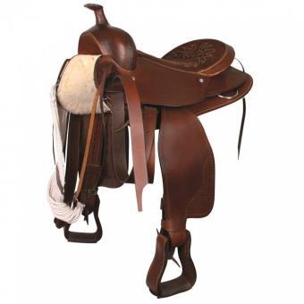 selle western grand cheval 16 40cm marron