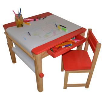 ensemble table et 1 chaise pour enfant en bois coloris rouge pegane