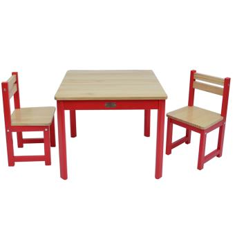 ensemble table et 2 chaises pour enfant en bois coloris rouge pegane