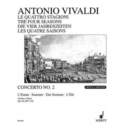 Partitions classique SCHOTT VIVALDI ANTONIO - THE FOUR SEASONS OP 8/2 RV 315 / PV 336 - VIOLIN, STRINGS AND BASSO CONTINUO Violon