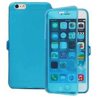 coque silicone gel livre rabat pour apple iphone 6 plus 6s plus bleu