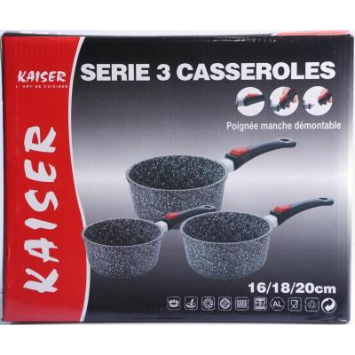 serie 3 casseroles kaiser 16 18 20 cm induction fonte d alu effet pierre