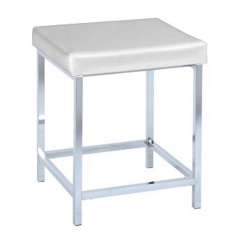 tabouret de salle de bain deluxe square white blanc chrome