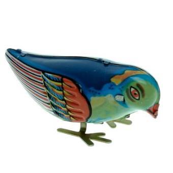 oiseau qui picore comme un vrai jouet mecanique en metal a cle reedition ancien