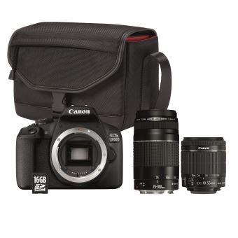 Appareil Photo Reflex Canon EOS 2000D + Objectif EF-S 18-55 mm f/3.5-5.6 IS II + Objectif EF 75-300 mm f/4-5.6 III + Sac SB130 + Carte mémoire SD 16 Go