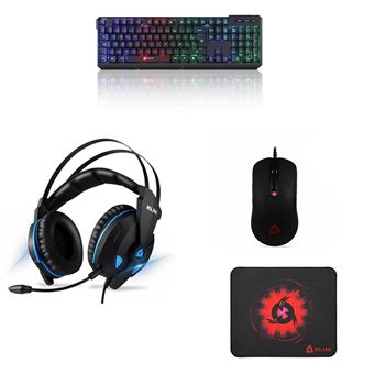 pack casque gaming sans fil klim noir et bleu clavier gaming sans fil bluetooth klim chroma noir souris filaire klim noir tapis de souris klim m