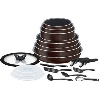 set de cuisine tefal ingenio essential 20 pieces noir cafe paillete batterie de cuisine