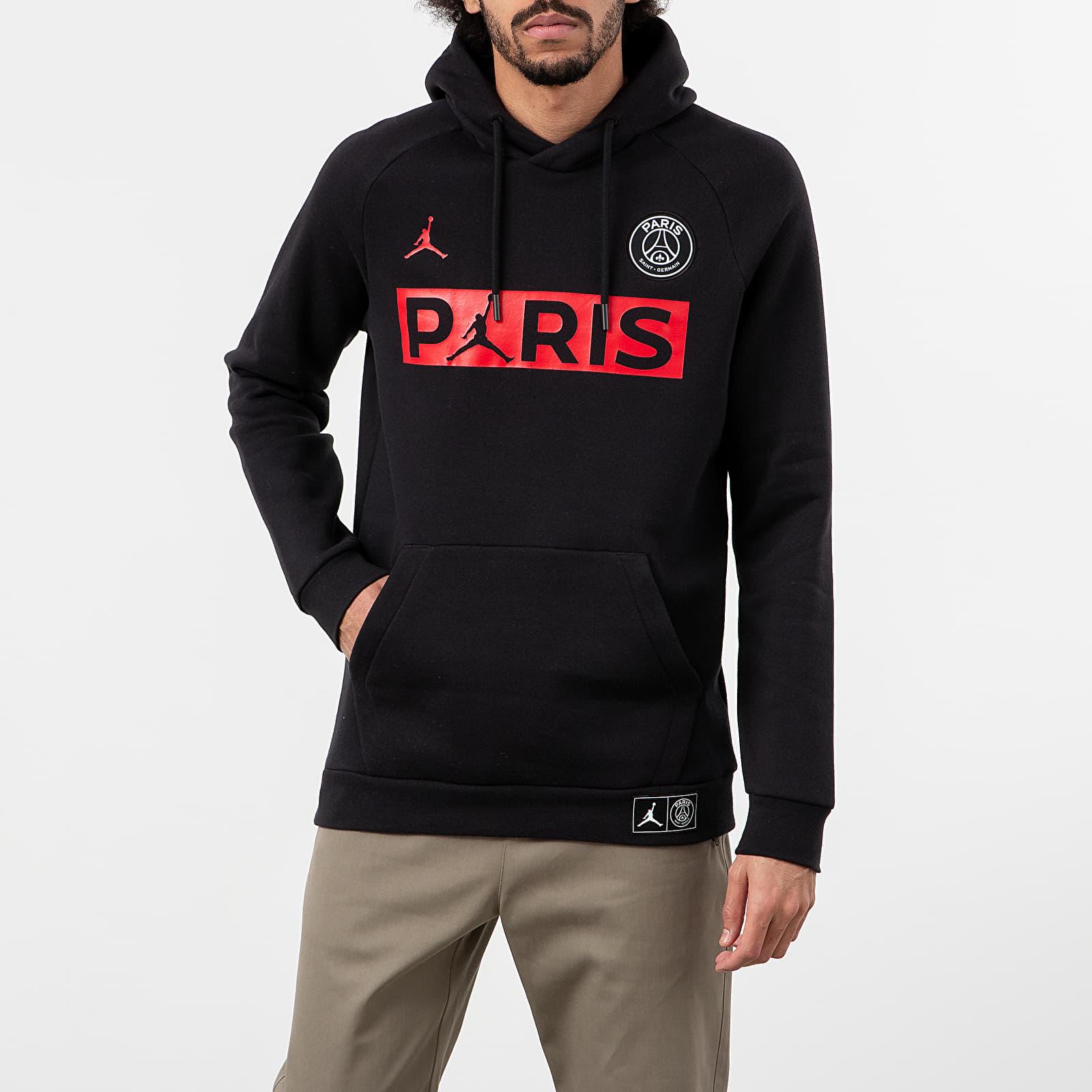 jordan paris saint germain jumpman fleece hoodie black university red footshop