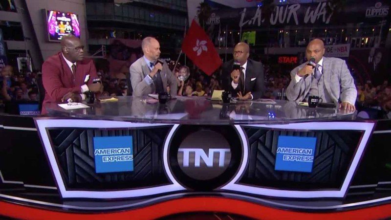 Hong Kong flag flies during TNT coverage of Lakers-Clippers season opener