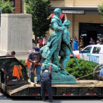 Statue of Lewis, Clark and Sacagawea toppled in Charlottesville 💥💥💥💥