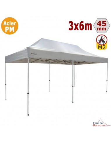 barnum pliant stand acier premium m2 3x6m blanc 380gr m