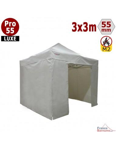 barnum pliant alu pro 55 luxe m2 3mx3m blanc pack cotes 580gr m