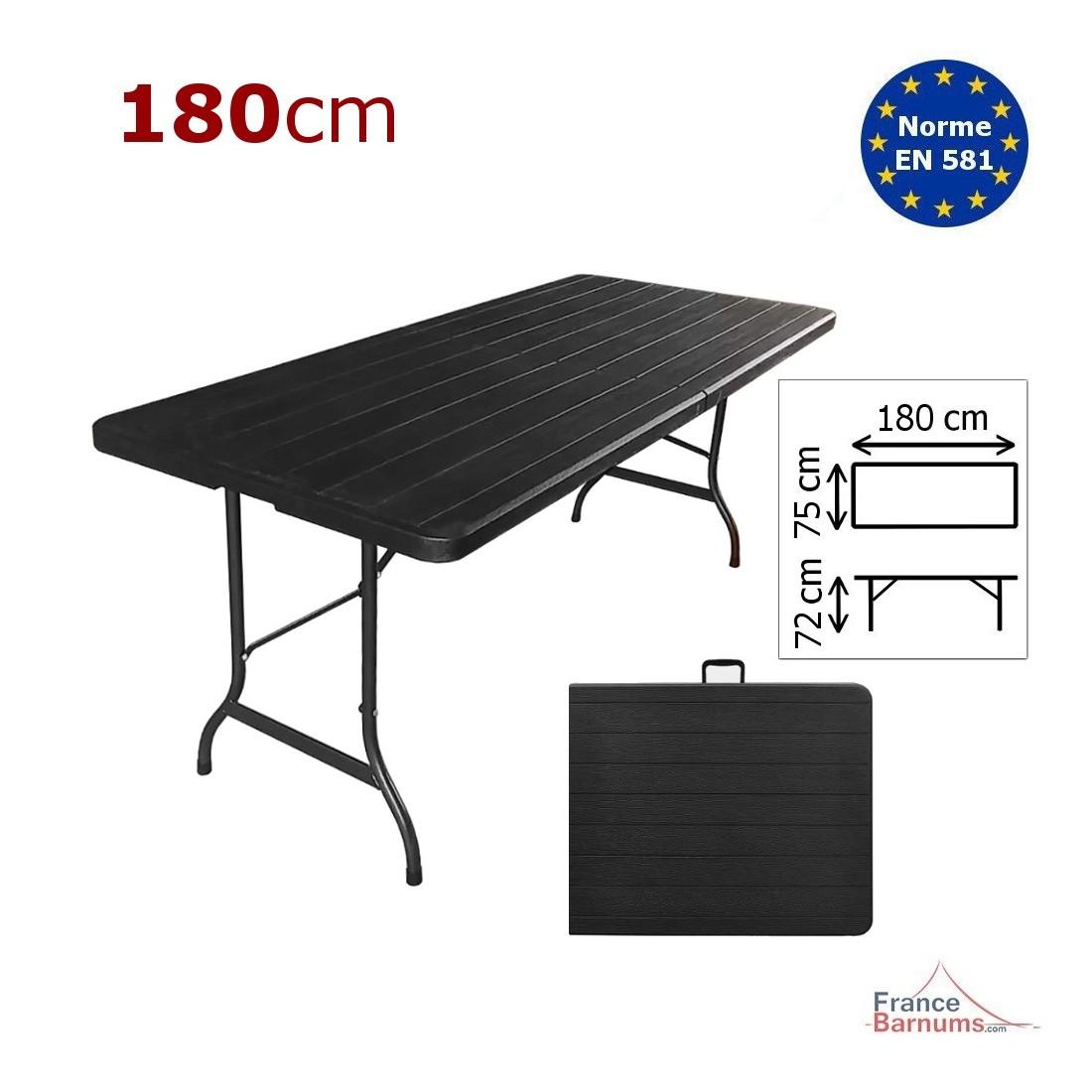 table de reception rectangulaire noire imitation bois de 180cm pliante