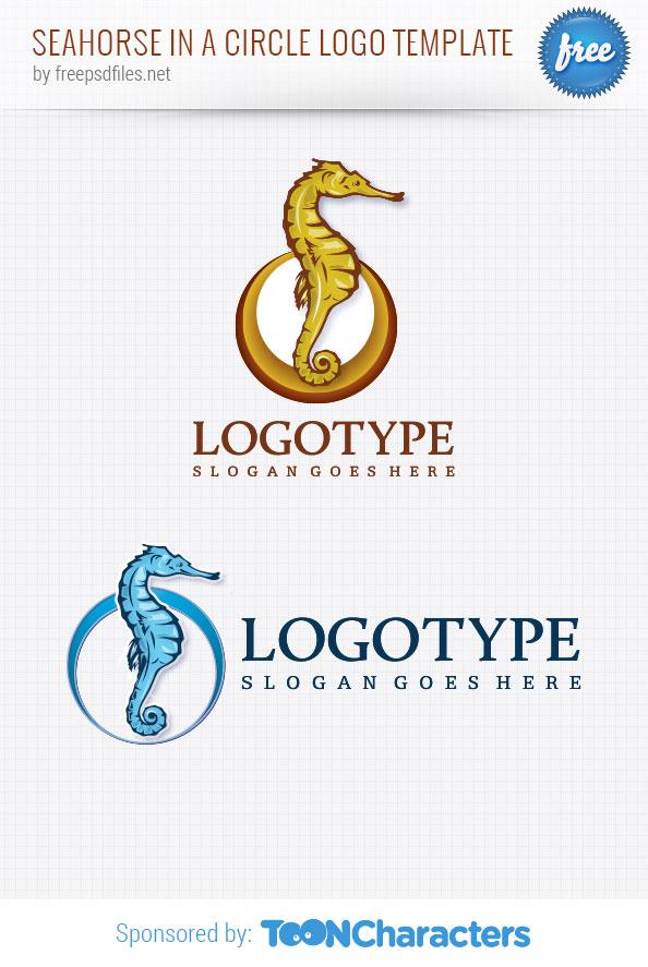Seahorse in a Circle Logo Template