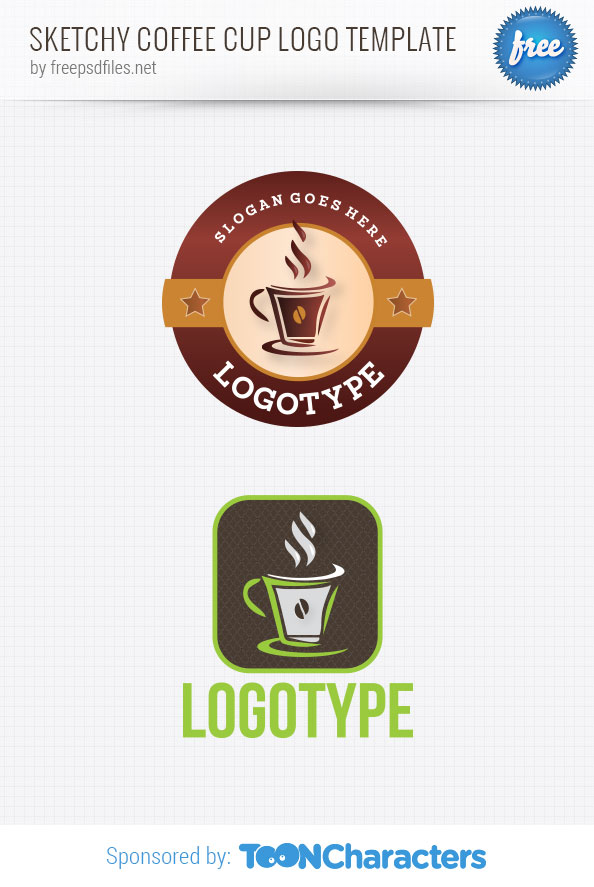 Sketchy coffee cup logo template