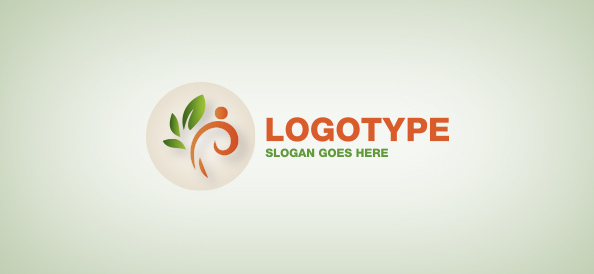 Flower Element in a Circle Logo Template