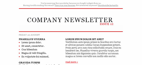 Simple Free HTML Email Left Sidebar