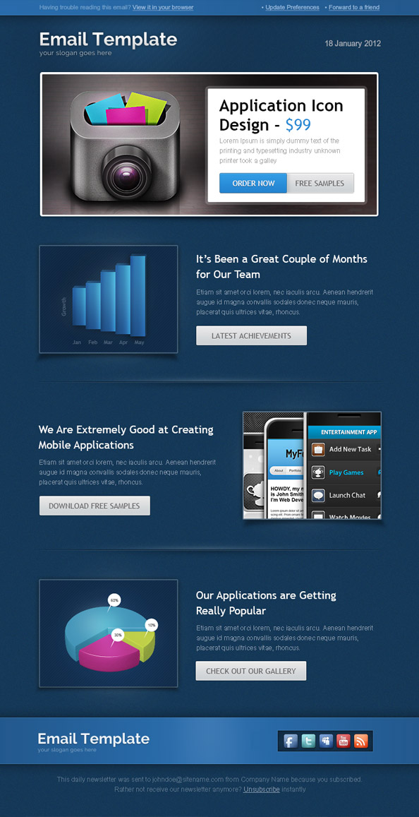 Business newsletter template free mail templates business newsletter template made in dark color scheme we have created template that will easily fit to a wide range of businesses cheaphphosting Choice Image