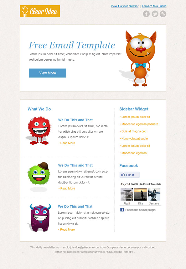 Cartoon Newsletter Template Preview