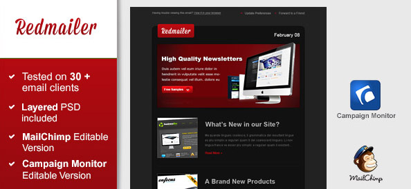 Free Newsletter Template – Redmailer
