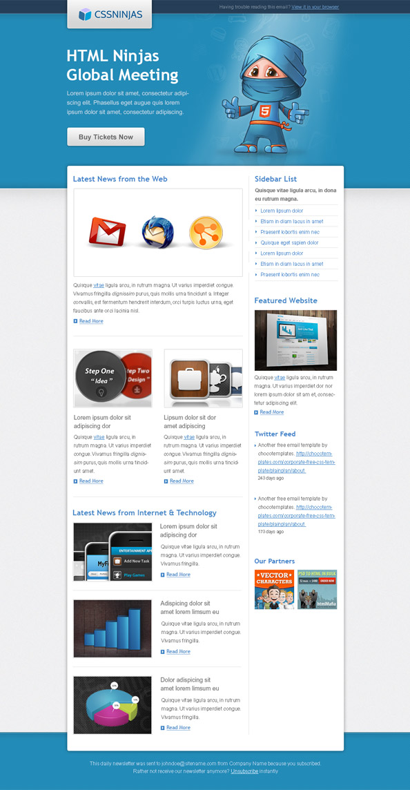 HTML Ninja Email Template Preview