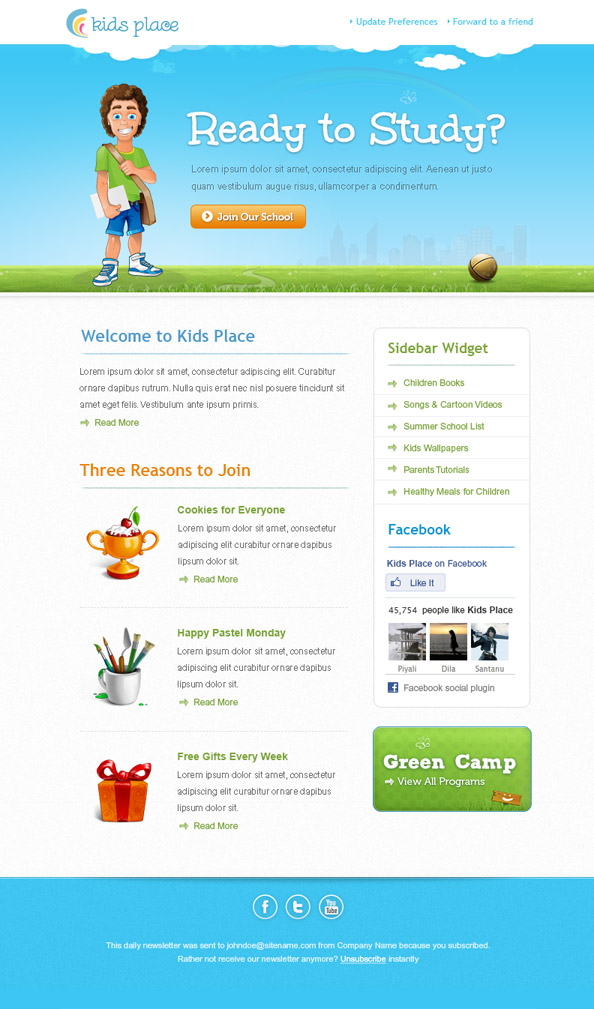 Kids Newsletter Template Preview