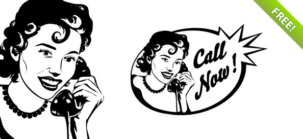 Vintage Woman on Phone PSD Graphic