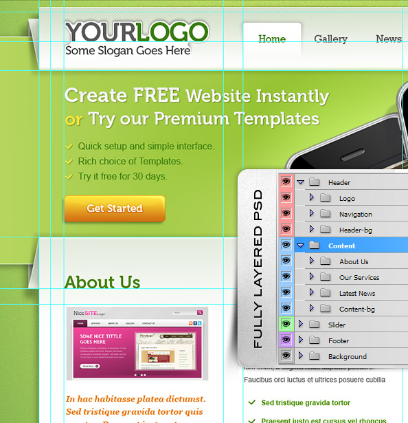 Fully Layered PSD Website Template