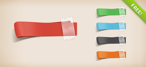 4 Free PSD Ribbon Templates