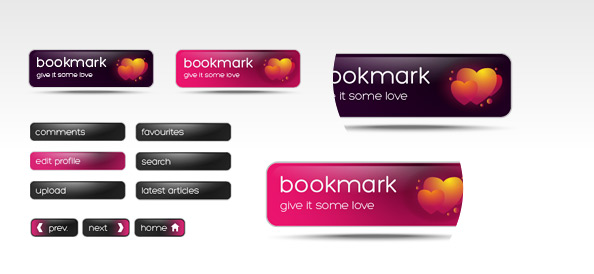 11 PSD Glossy Button Templates
