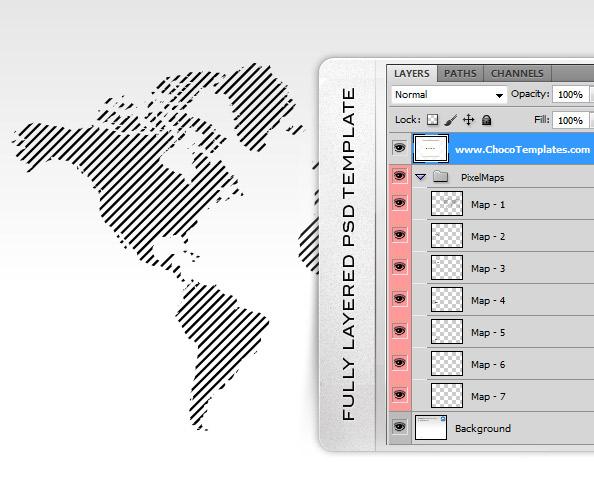 Fully Layered Pixel World Maps PSD